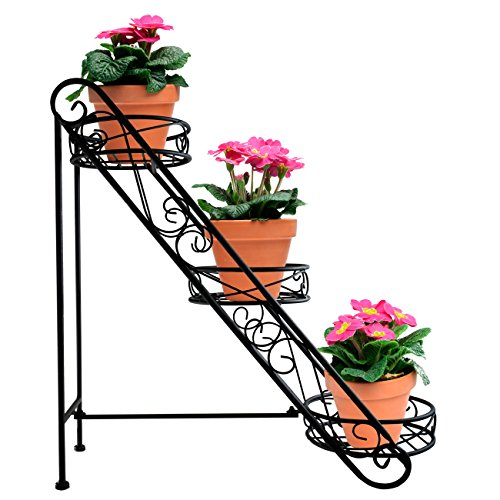 Sorbus 3-Tier Flower Plant Stand – Slanted Flower Pot Holder for Home, Garden, Patio, Plant Lovers, Housewarming, Mother's Day (3 Tier Slanted (Black))
