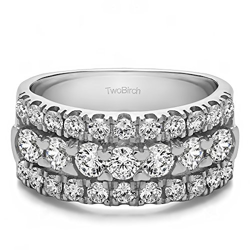 TwoBirch Sterling Silver Three Row French Cut Pave Raised Center Anniversary Ring with Cubic Zirconia (2 ct. tw.) ()