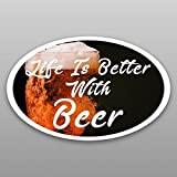 wall decals beer - Life Is Better With Beer Vinyl Decal Sticker | Cars Trucks Vans Windows Walls Cups Laptops | Full Color Printed | 5.5 X 3 | KCD2018