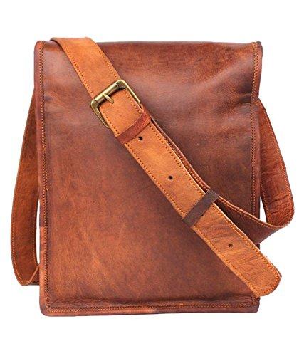 pranjals house Leather Tablet Messenger Bag  Brown