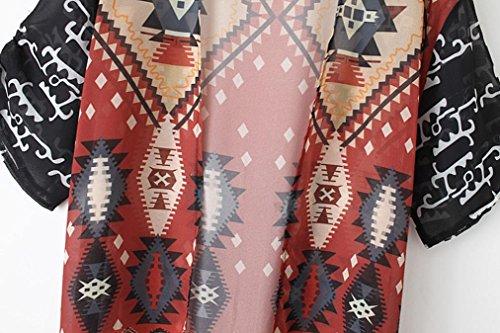 Nouvelle arrivee!!! Amlaiworld Femmes Femmes géométrique Imprimé Tassel mousseline châle Kimono