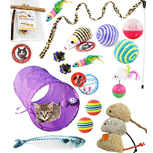 Aduck Interactive Cat Toys Variety Pack for Kitten, Assortments Cat Toy with Catnip Fish Cat Tunnel Feather Teaser Wand Toy Fluffy Mice, Crinkle Balls Bells for Cat Puppy Kitten Kitty (Color may Vary)