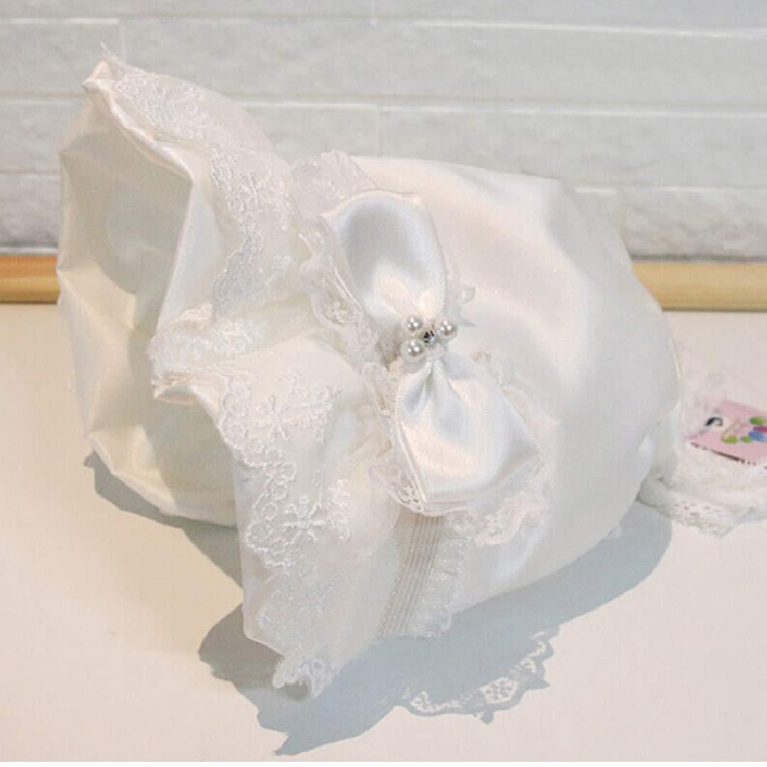 Beautiful White Baptism Bonnet for Baby Girls
