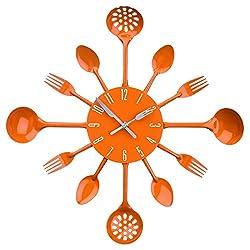 SODIAL(R) Housewares Cutlery Wall Clock - Orange