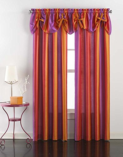 Rainbow Ombre Faux Silk Curtain Panel