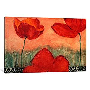 iCanvasART 1-Piece Red Flowers Canvas Print by Pablo Esteban, 1.5 by 26 by 18-Inch