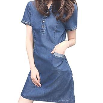 Cooljun Damen Jeanskleid Hemdblusenkleid Longshirt Tunika Damenmode 2018 Retro Denim Blau Hemd Kleid Kurzarm Sommerkleider mit Knopf Slim Jeans Party