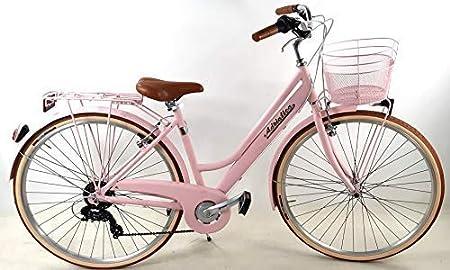 """Adriatica Bicicleta Mujer Aluminio """" Retro """" 28″ con Cambio + Cesta Anterior Chapado / Color Rosa: Amazon.es: Deportes y aire libre"""