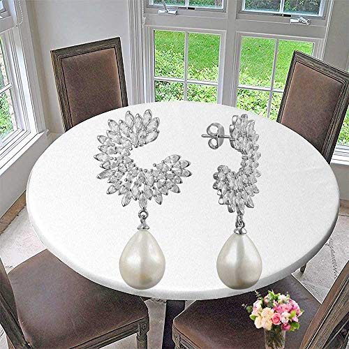 Round Polyester Tablecloth Table Cover Silver earrs on White Background for Most Home Decor 63