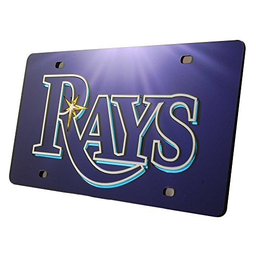 MLB Tampa Bay Devil Rays Laser-Cut Auto Tag (Navy)