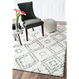 nuLOOM 200OZSG18A-8010 Alexa My Soft and Plush Moroccan Trellis White/Grey Easy Shag Rug (8-Feet X 10-Feet)