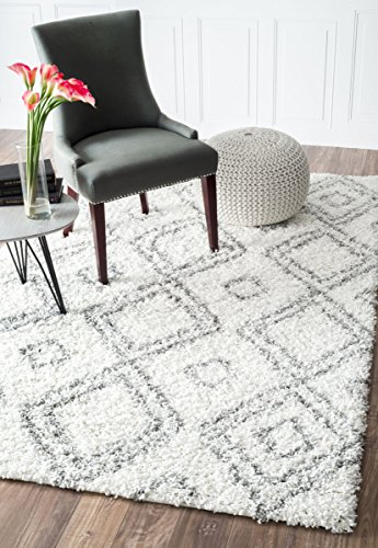 Cozy Soft and Plush Moroccan White Shag Area Rugs, 5 Feet by 8 Feet (5' x 8')
