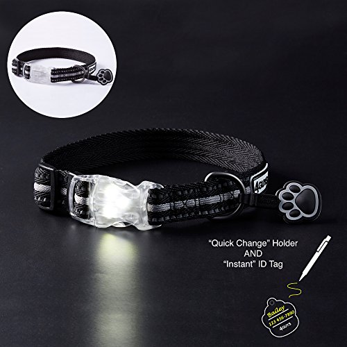 4GUYS Lighted Adjustable Dog Collar with LED Lighted Buckle and Reflective for Safety at Night, with a Free EZ Clip and Personalized Pet ID Tag, Black & Gray for Medium and Large Dogs (L(18