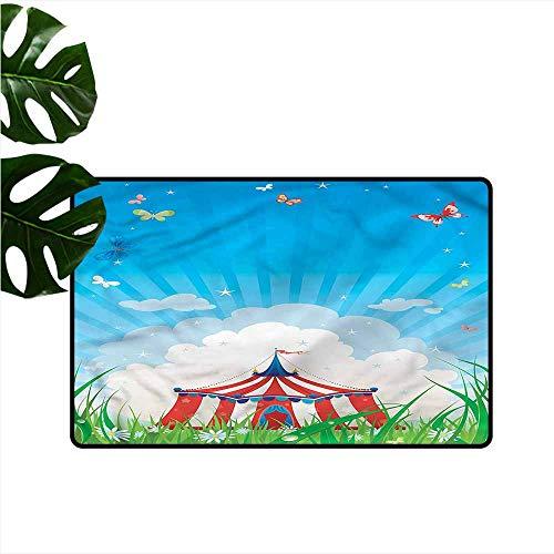 Interior Door mat Circus Circus Tent with Clouds Antifouling W20 xL31 (Pet Ego Tent)