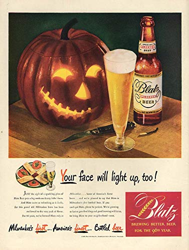 Your face will light up too! Blatz Beer ad 1947 Halloween Jack-o-Lantern L -