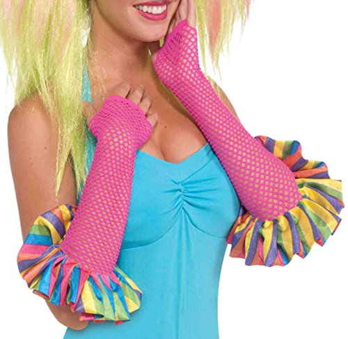[Forum Novelties Women's Circus Sweetie Fishnet Glovelettes, Multi, One Size] (Halloween Costumes With Pink Hair)