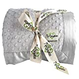 My Blankee Minky Dot Twin Blanket with Flat Satin Border, Silver, 59'' X 85''