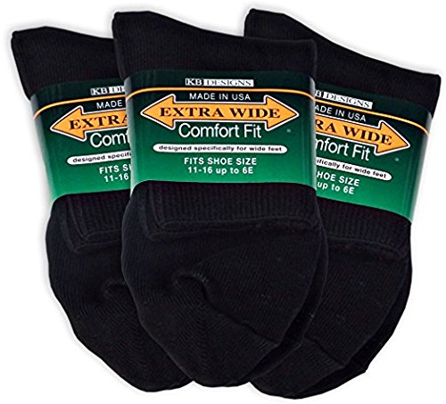 Extra Wide Comfort Fit Athletic Quarter (Anklet) Socks for Men - Style #8600 - Black - Size 11 to 16 (up to 6E wide) - (Style Athletic Socks)