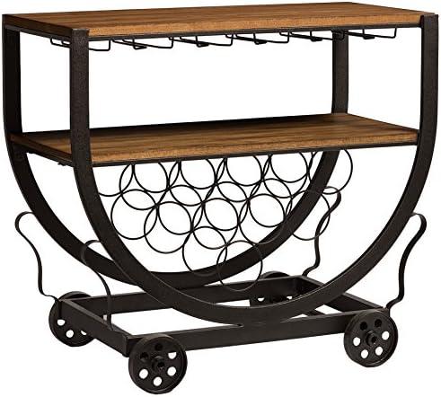 Baxton Studio Triesta Antiqued Vintage Industrial Metal Wood Wheeled Wine Rack Cart
