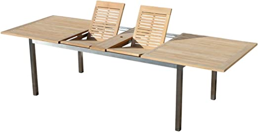 ASS - Mesa extensible de madera de teca para jardín, 150/210 x 90, 180-240 cm x 100, 200-250-300 x 100 cm, 200-240-280 x 100 cm, 160-220 x 90 cm: Amazon.es: Hogar