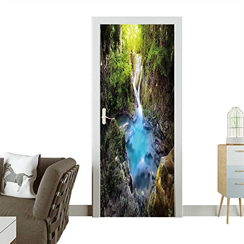 Homesonne Door Art Sticker Majestic Nature Background of Mountain River Stream and Small Blue Water Lake Room Decoration W23 x H70 INCH