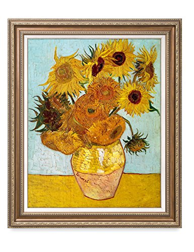DECORARTS - Twelve Sunflowers, Vincent Van Gogh Art Reproduction. Giclee Print& Framed Art for Wall Decor. 30x24, Framed Size: 35x29