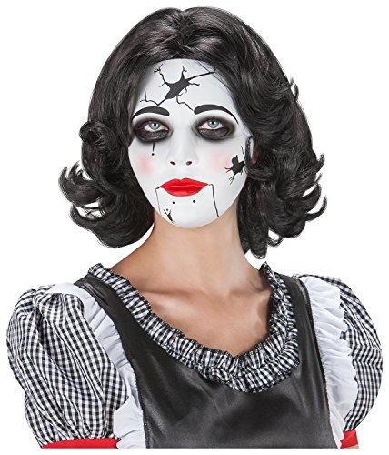 [Women'S China Broken Doll Mask Broken Babydoll Gothic Halloween Costume] (Broken Doll Costume For Adults)