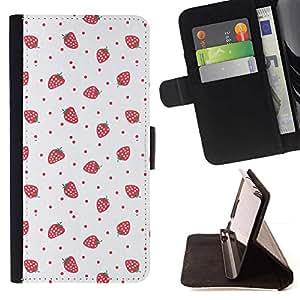 Arte Fresas Rosa Rojo Wallpaper- Modelo colorido cuero de la carpeta del tirón del caso cubierta piel Holster Funda protecció Para Apple (4.7 inches!!!) iPhone 6 / 6S