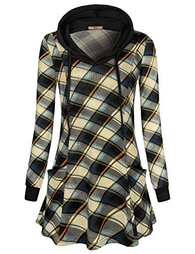 (Miusey Dressy Tops for Women,Ladies Blue Plaid Tartan Shirt Long Sleeve V Neck Sweater Fashion Trendy Slouchy Knitted Sweatshirts Basic Sweaters Pocket Hoodies for Teen Girl Beige M)