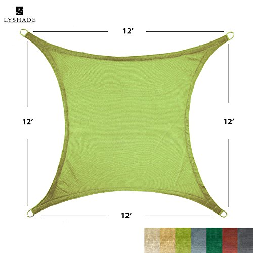 LyShade 12 x 12 Square Sun Shade Sail Canopy Lime Green – UV Block for Patio and Outdoor