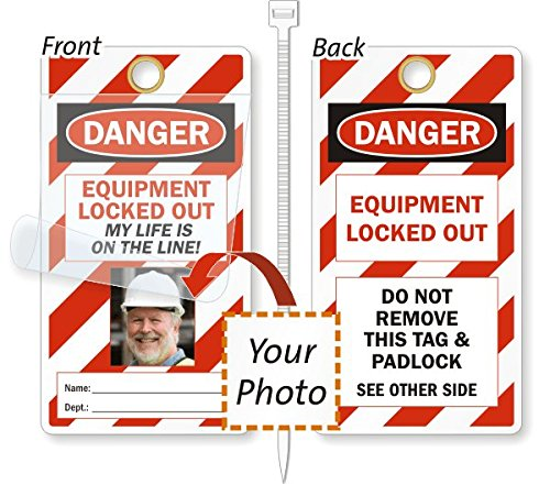"SmartSign ""Equipment Lock-Out"" 2 - Sided Photo Lockout Tag 