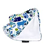 The Stroller Blanket, Soft Minky and 100% Cotton 41x 30 , Zoo Frenzy Pattern