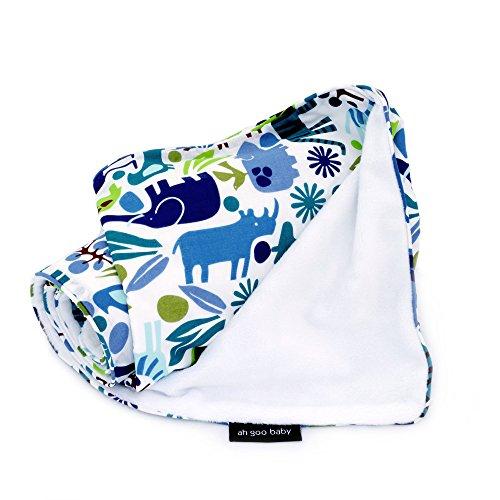 Ah Goo Baby Stroller Blanket, Zoo Frenzy, White/Multi, 1-Pack