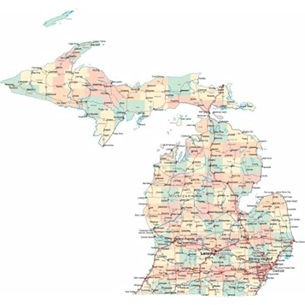 Amazon Com Conversationprints Michigan Road Map Glossy Poster Picture Photo State City County Detroit Mi Posters Prints