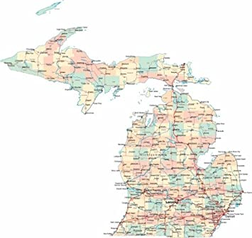 Amazoncom MICHIGAN ROAD MAP GLOSSY POSTER PICTURE PHOTO State - State map of michigan