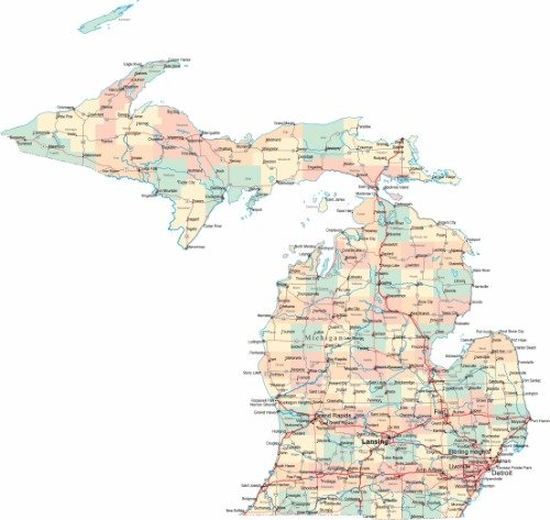 Michigan Wall Map - MICHIGAN ROAD MAP GLOSSY POSTER PICTURE PHOTO state city county detroit mi