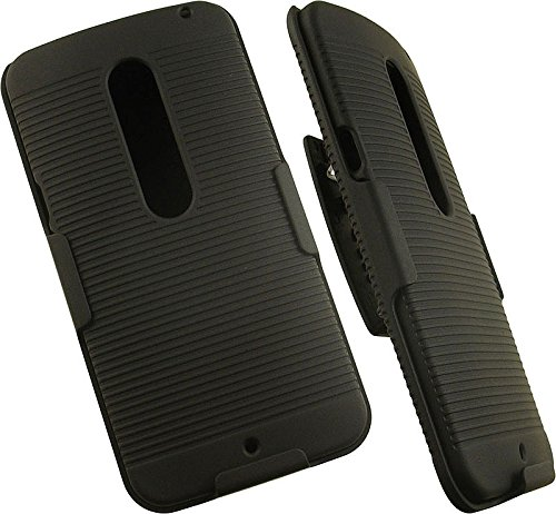NAKEDCELLPHONE'S BLACK RIBBED HARD CASE COVER + BELT CLIP HOLSTER with STAND FOR MOTOROLA MOTO X PURE EDITION 2015 PHONE (XT1570 XT1572 XT1575) - Ribbed Ring Seat