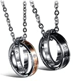 His & Hers Matching Set Titanium Stainless Steel Couple Pendant Necklace Korean Style with a Love Bean