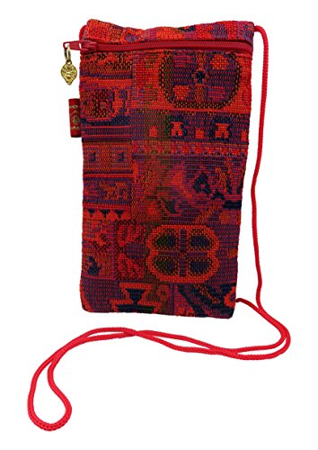 Sunglasses & Eyeglass Pouch with shoulder string | Fits Medium To Large Frames | Authentic Ethnic Druze Fabric Weave | Women | (Red Ethnic - Colorful Sunglasses Bulk In
