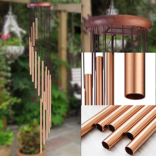 Topspeeder Wind Chime Outdoor Spiral Wind Chimes Solid Wood and 18 Scrub Aluminum Alloy Gold Tubes Wind Chime 36'' Large Garden Wind Chime for Party, Garden, Decor, Gift etc (Gold Metal)