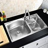 Double Bowl Sink Stainless Steel Topmount Kitchen Sinks