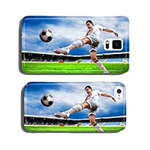 Happiness football player after goal on the field of stadium wit cell phone cover case Samsung S6