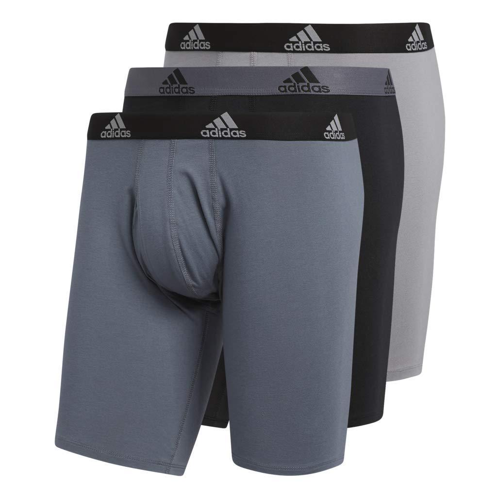 Agron Underwear 5147441SCM-P adidas Mens Stretch Cotton Midway Underwear 3-Pack