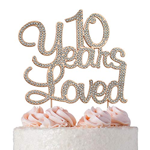 10 Years Loved Cake Topper | ROSE GOLD | Premium Bling Crystal Rhinestone Diamond Gems | 10th Birthday or Anniversary Party Decoration Ideas | Quality Metal Alloy | Perfect Keepsake