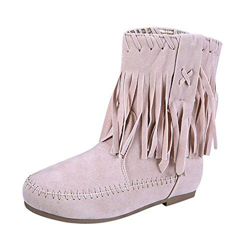 Flat Winter Boots Women's Shoes Warm Ladies Beige Tassel Frestepvie A nIv4qI