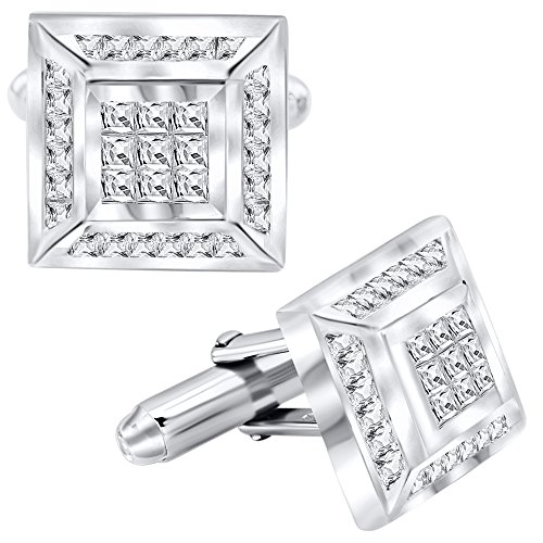 Cut Silver Cufflinks (Men's Sterling Silver .925 Square Cufflinks with Channel-Set and Princess-Cut Cubic Zirconia Stones, Platinum Plated, 16mm by 16mm. By Sterling Manufacturers)
