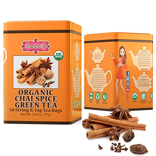 Brew La La Organic Green Tea - Chai Spice Flavor - 50 Tea Bag Tin - Low Caffeine Gourmet Tea - USDA Certified Organic