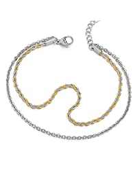 Two-Row Stainless Steel Silver Gold Anklet Bracelet Double Chain(CA)