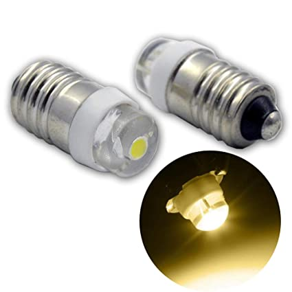 Ruiandsion E10 Bombilla LED DC 12V 0.5W 3000K Bombilla LED blanca cálida 200LM para linterna