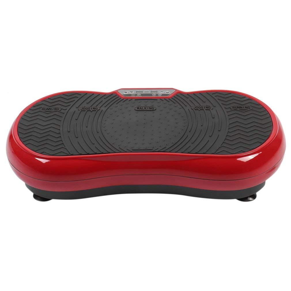 Profi Vibrationsplatte Vibrationstrainer Power Vibro Platte 200W inkl. Trainingsbänder mit Trainingsfläche, LCD Display & Fernbedienung (rot)